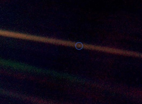 Earth from 4 billion miles away, photographed by Voyager 1 on June 6, 1990