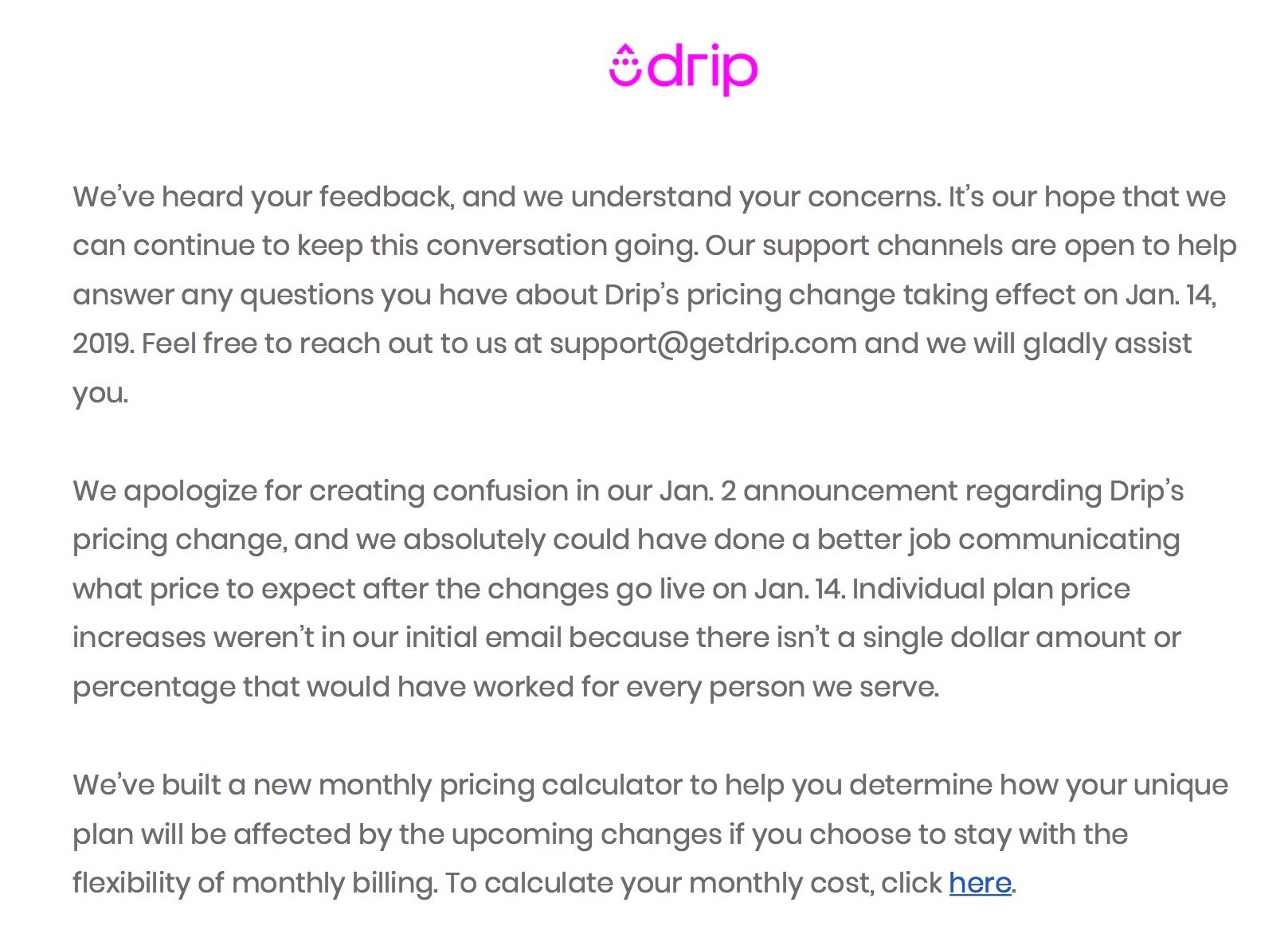 drip pricing change sorry not sorry